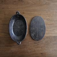 高須愛子 イッチン耐熱楕円グラタン皿 小 花柄(鍋敷き付き)