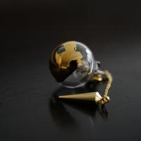 №26  BELLEZA Glass Jewelry ガラス玉片耳ピアスゴールドM
