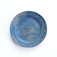 6-5 水谷智美 炻器 ラウンドリムプレート S 藍色