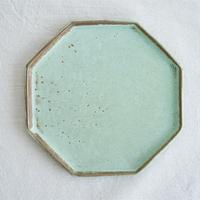 伴裕子 青銅マット八角皿 赤土 A-2