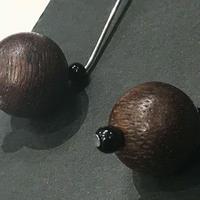 高品質沈香&オニキス ピアス/イヤリング