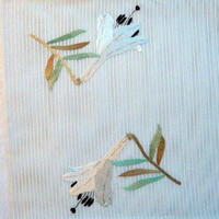 夏帯 絽つづれ刺繍 百合