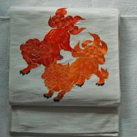 【定価385000円】刺繍袋帯 唐獅子牡丹