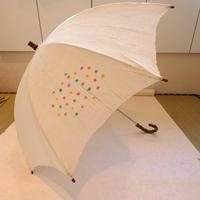 日傘 麻地 水玉