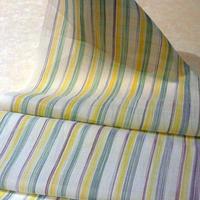 小千谷縮 絣ストライプ 紫黄色緑
