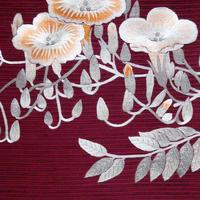 夏帯  絽綴れ地 刺繍 ノウゼンカズラ