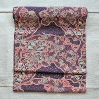 名古屋帯 ジャワ更紗 ピンク紫