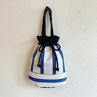 ストライプ巾着バッグ [blue]