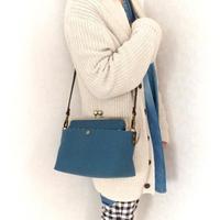 荷物持ちさんのための✨がま口帆布ショルダーバックL ミネラルブルー(単色)
