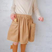 Piping gather skirt / caramel cream <09-36>