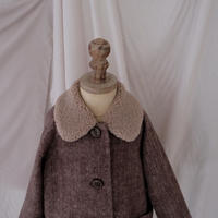 Wool coat / herrinbone brown