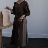 ladies * Puff dress / grayish olive