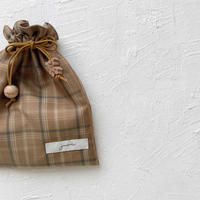 Drawstring bag S size  / camel check