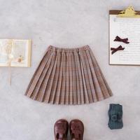 Pleats skirt / brown check <09-33>