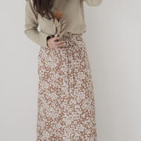 ladies * Wrap skirt / camel flower