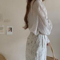 ladies Tuck pants / linen flower