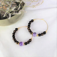 amethyst × coconut beads pierce