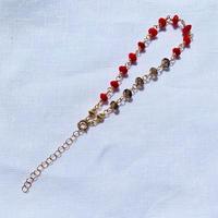 Red Coral × Smokey quartz bracelet