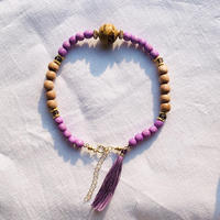 purple × natural brown   woodbeads anklet