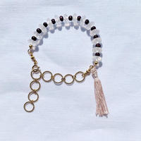 Rose Quartz ×  purple  woodbeads bracelet