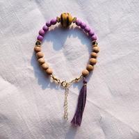 purple × natural brown   woodbeads bracelet
