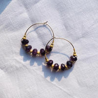 amethyst × woodbeads pierce