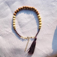 natural brown  × white   woodbeads anklet