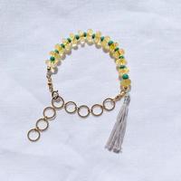 Citrin × papermintgreen  woodbeads bracelet
