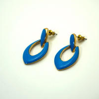 〈Costume jewelry〉60-80s  Pierced Earrings  Turquoise blue/ Gold《送料無料》