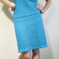 60s Knitting Set-up Sky blue  (no.407)