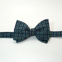 《送料無料》Vintage Flower Navy Green Bow tie Silk  (no.311)