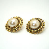 〈Costume jewelry〉60-80s  Pierced Earrings  White/ Gold《送料無料》