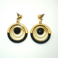 Vintage French Pierced Earrings  Black/ Gold《送料無料》