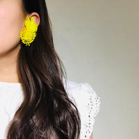 Vintage Clip-on Earrings Yellow 《送料無料》 (no.189)
