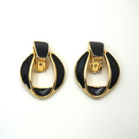 〈Costume jewelry〉60-80s  Clip-on Earrings  Black/ Gold《送料無料》