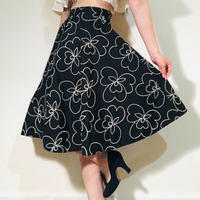 50s Floral print skirt Black (no.336)
