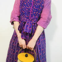 Purple Flower Print Quilting Dress / Robe