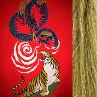 虎と龍・金×銀房・長さ105cm