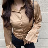 【即納・order】Lace up silky shirt