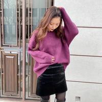 purple V-neck knit
