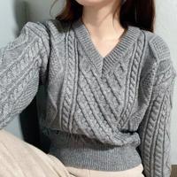 【即納】shortCable knit