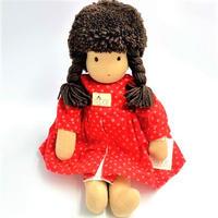 ジルケ人形(小)女の子  茶髪赤花ワンピース