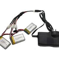 F183W 7.4v 500mAh Lipo バッテリー 3個&充電器 3個同時充電器 過負荷 放電保護機能付 2.5A 急速充電 お徳セット 送料無料