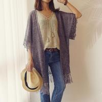 [K2tog] 編図付キット K19-006 Fringed Kimono (L-2L size)