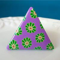 【 三角のレトロ 】懐かわレトロの花柄ブローチ no.1277B