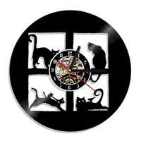 輸入雑貨 ウィンドウキャット 猫 ネコ 壁アート ヴィンテージ 30cm レコード盤 壁掛け時計 人気  インテリア ディスプレイ  18