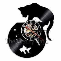 輸入雑貨 フィッシュ&キャット ネコ 猫 キャット 壁アート ヴィンテージ 30cm レコード盤 壁掛け時計 人気  インテリア ディスプレイ  17