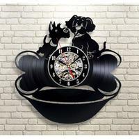 輸入雑貨 仲良しドッグ 犬 ドッグ Dog 壁アート ヴィンテージ 30cm レコード盤 壁掛け時計 人気  インテリア ディスプレイ