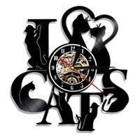 輸入雑貨 Ⅰ♡CATS 猫 ネコ 猫 キャット 壁アート ヴィンテージ 30cm レコード盤 壁掛け時計 人気  インテリア ディスプレイ  16