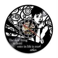 輸入時計 オードリーヘップバーン 掛け時計 壁アート ヴィンテージ 30cm レコード盤 人気 インテリア GIT-0117 ディスプレイ  26